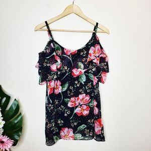 CAbi The Fairy Tale Floral Cold Shoulder Cami Top